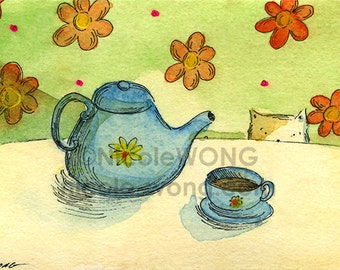 ACEO archival Print -- Tea Time