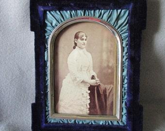 Antique c1877 Victorian Velvet & Silk Picture Frame