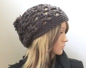 Perfection Slouch - Open Stitch Rasta Slouch Hat with Pompom - in Graphite - All Season Slouchy Beanie for Women Girls Teens - Ready 2Ship