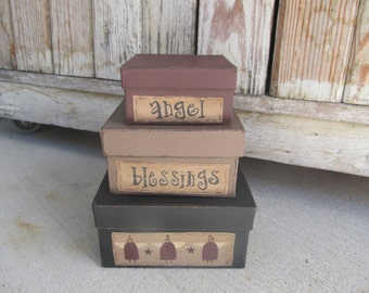 Primitive Country Angel Square Stacking Boxes set of 3 GCC5177