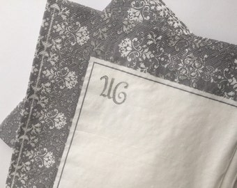 Beautifully simple!  Pack of 30 luncheon napkins for your wedding reception or bridal shower in grey and white.
