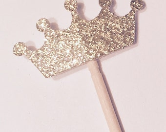 Free shipping with any other order from my shop! Set of 12 glittery gold princess crown cupcake toppers.