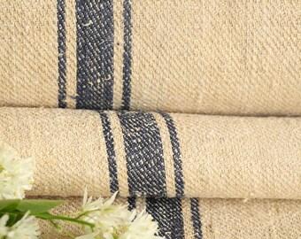 R 50 antique hemp french DEEPSEE BLUE upholstery 4.91 yards handloomed STAIRUNNER benchcushion Beachhouse look