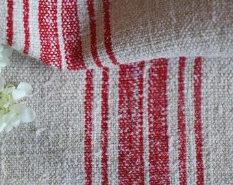 B 359 antique handloomed SUMMER RED french lin grainsack pillow cushions wedding decor, tablerunner, upholstery fabric, runners 55.12