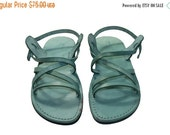 20% OFF Green Star Leather Sandals for Men & Women - Handmade Sandals, Leather Flats, Leather Flip Flops, Unisex Sandals, Green Leather Sand