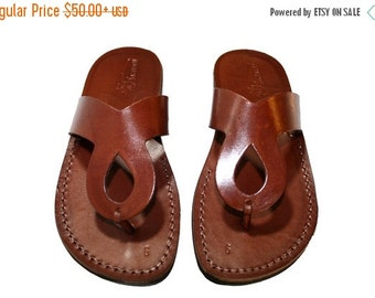 15% OFF Brown Cross Leather Sandals for Men & Women