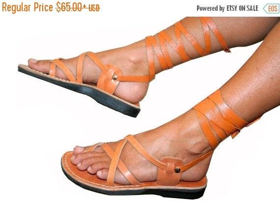 20% OFF Caramel Gladiator Leather Sandals for Men & Women (Triple Design) - Handmade Sandals, Unisex Gladiator Sandals, Natural Leather Sand