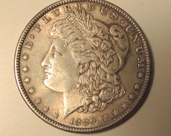 Antique 1889 Morgan Silver Dollar, Antique Silver Coin, Collectable Morgan Silver Dollar, Collectable Silver Dollar- REDuCED