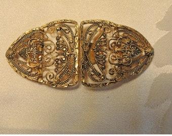 Antique Czech Art Nouveau Cannetille Twisted Wire 2 Piece Belt Buckle