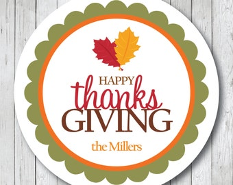 Personalized Happy Thanksgiving Stickers or Tags