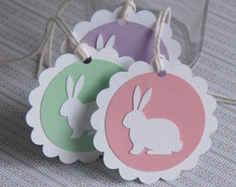 6 Easter Bunny Tags, Easter Gift Tags, Bunny Tags .  2.5 inch