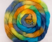 Hand dyed roving,  English Whitefaced Woodland, Penistone, combed tops, British rare breed, fiber, spinning wool, Colour; Andalucia