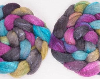 Hand dyed roving, British Shetland, Tussah Silk, fiber, Hand painted, British wool tops,  100g,  spinning fiber, colour:Ollerberry