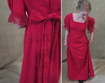 SALE Red Regency Jane Austen Dress size Small
