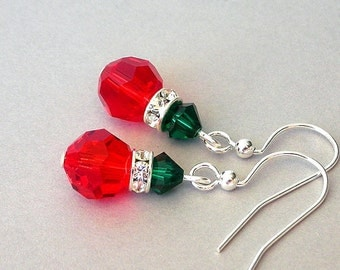 Small red Christmas light earrings, Swarovski crystal drop earrings, red and emerald green holiday lights, Christmas gift for her