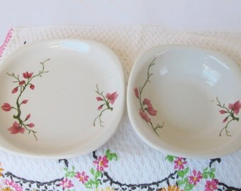 Small Square Bowl and Plate with Flowers Syracuse Trend Berkeley Cherry Blossom Pattern Floral Vintage Restaurant Ware Cafe Diner Dishes
