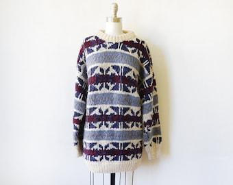 Ecuador sweater, vintage wool Ecuadorian sweater, chunky wool sweater, extra large xl