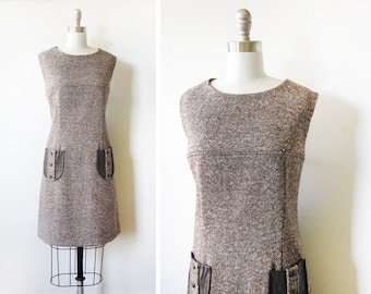60s tweed dress, vintage 60s flecked tweed dress, 1960s wool dress, large mod dress