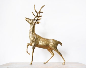 large brass deer, vintage hollywood regency brass deer figurine, brass stag