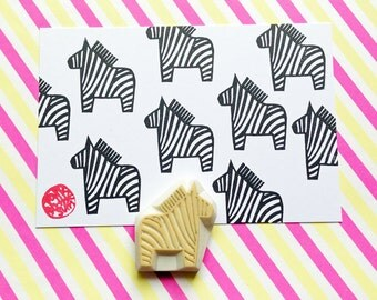 zebra rubber stamp. dala horse hand carved rubber stamp. animal stamp. diy birthday christmas scrapbooking favor bags. baby shower crafts