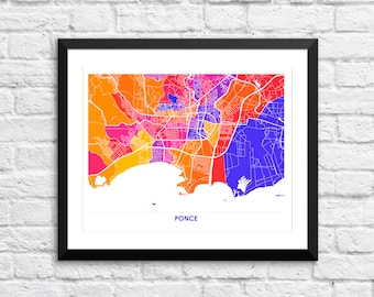 Ponce Map Print.  Choose your favorite colors and size.  Puerto Rico Wall Art.