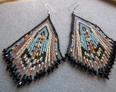 Black Cream Copper and Turquoise Seed Bead Fringe Dangle Earrings-Free Shipping