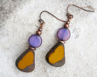 Yellow Earrings With Czech Glass Boho Earrings Rustic Earrings Yellow and Purple Earrings