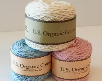 Organic Cotton Yarn - Appalachian Baby Design Organic cotton baby sport weight yarn - Cream, Pink, Blue yarn