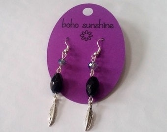 Boho Sunshine Feather Charm Earrings Hypo-Allergenic Ear Hooks with Black Beads