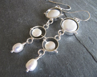 Long Pearl Earrings in Sterling Silver