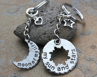 Moon of My Life, My Sun and Stars Key Chains - Game of Thrones Inspired Key Ring Set - His and Hers - Drogo & Daenerys- Free shipping USA