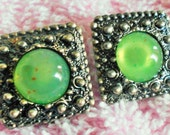 Vintage Square Clip On Earrings, Geen toned type stone