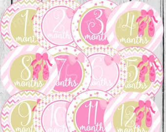 MONTHLY IRON ON Decals or Monthly stickers - 12 Monthly iron on heat transfers for Baby girl - Pink Ballerina Monthly Pack (Style#A35)