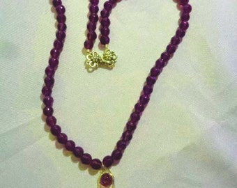 Royal purple AAA faceted Amethyst necklace with quartz crystal jeweled pendant