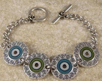 Green and Blue Disc Bracelet