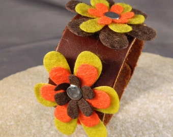 Orange Yellow and Brown Flower Leather Bracelet