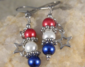 Red White and Blue With Star Dangle Earrings