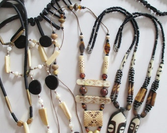 Vintage TRIBAL JEWELRY  from Chicago Estate  -- Natural Materials