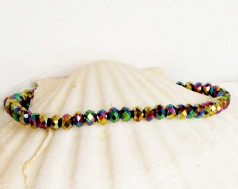 Rainbow Titanium Crystal Beads multi colored faceted beads 5 mm Rondell Bead Necklace Earring bracelet supply
