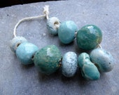 Artisan made ceramic beads - set of 9 - Shades of Blue - S to M