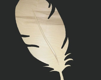 Unpainted Grooved Feather Decor