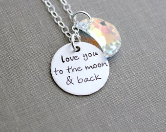 love you to the Moon and Back - Sterling Silver Necklace - Hand Stamped with AB Swarovski Crystal Elements Moon - Charm Necklace - Grandma