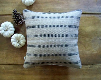 free shipping - black jute pillow - burlap- black stripe - rustic - farm house - natural - fall home decor - autumn - Jennifer Helene Home