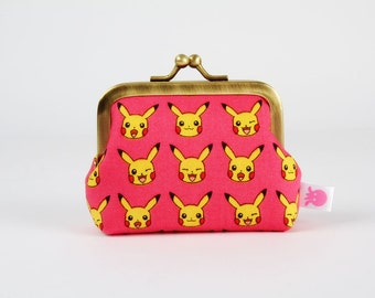Metal frame change purse - Pikachu on pink - Deep mum / Pokemon fabric / yellow red pink black