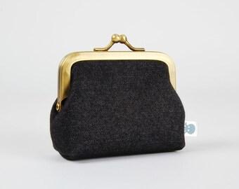 Metal frame change purse - Denim - Deep mum / Deep blue jean / Metallic silver stars