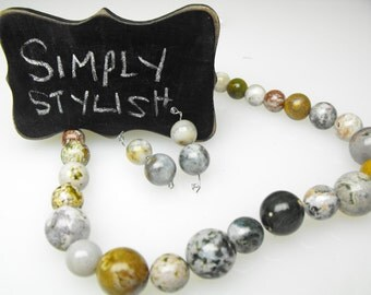 OCEAN JASPER BEADS 00424-5-6c precious gemstone natural obicular green white tan round diy necklace earring set kit smooth polished strand