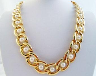 Faux Pearl Goldtone Necklace