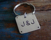Couples Initial Keychain, Nickel Key Chain,Hand Stamped,Silver Gift,Mens Keychain,His Hers,Boyfriend Gift,Girlfriend Gift,Couples Keychain