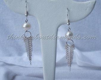 pearl and sterling silver chain dangle earrings * bridal earrings * bridesmaid earrings * mother of the bride * bride * wedding