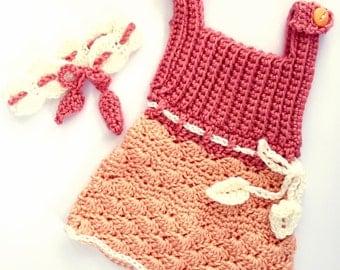 Summer baby dress headband crochet peach, coral, ivory or off white. Newborn photo prop